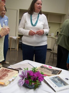 Ginny Mapes and some of her books - History Society Roundtable May 18, 2018