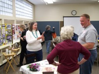 Ginny Mapes speaking with Elaine Shreve and Dirk Knudsen - Ginny Mapes reception May 18, 2018