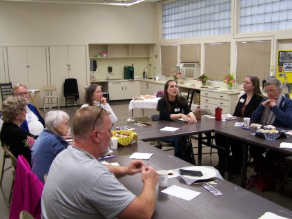 Liza Schade speaking (in black) - History Society Roundtable May 18, 2018