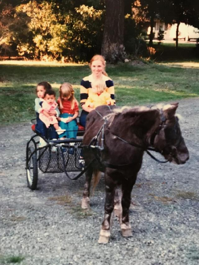 Glory, the pony, with Jacki Wisher's sister Kathy Lane as the driver with two neighborhood girls, Nikki and Mari. Probably 1964 or 1965.