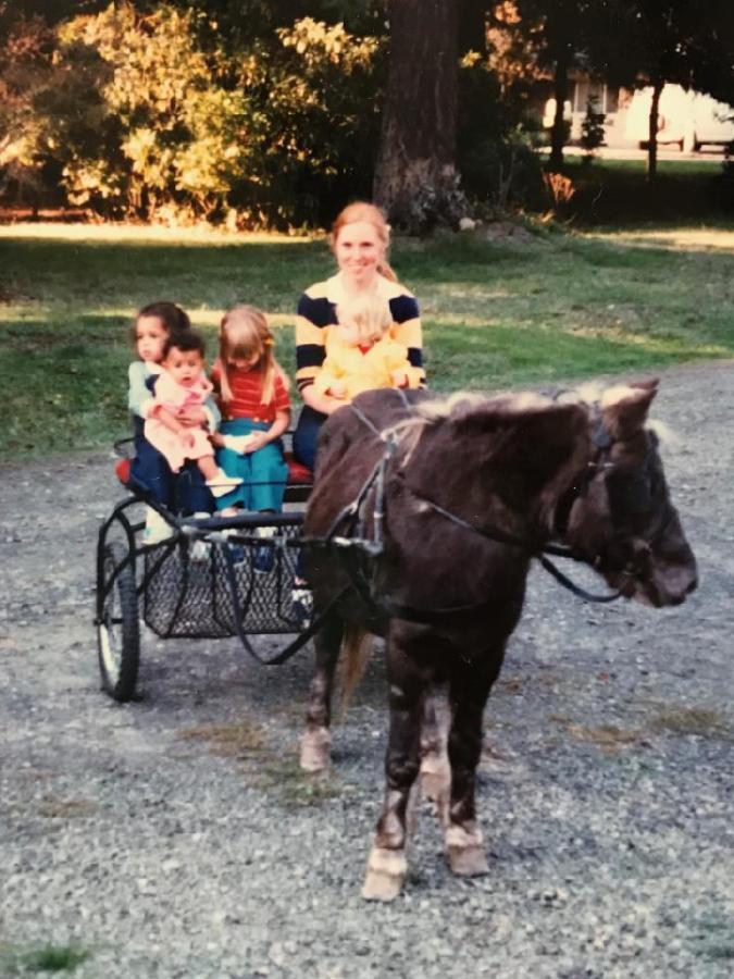 Glory, the pony, with Jacki Wisher's sister Kathy Lane as the driver with two neighborhood girls, Nikki and Mari. Probably 1964 or 1965.