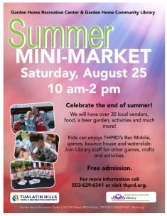 Summer Mini-Market Saturday August 25, 2018 10am-2pm