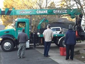 2019-01-30 Post Office Safe - crane truck arrives