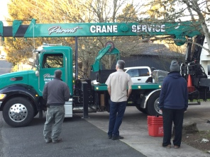 2019-01-30 Post Office Safe - crane truck arrives