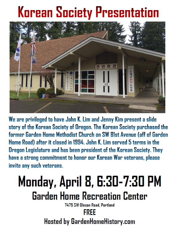Merveilleux Join Us Monday, April 8 At 6:30 PM At The Garden Home Recreation Center For  A Presentation By The Korean Society. John K. Lim And Jenny Kim Will  Present The ...