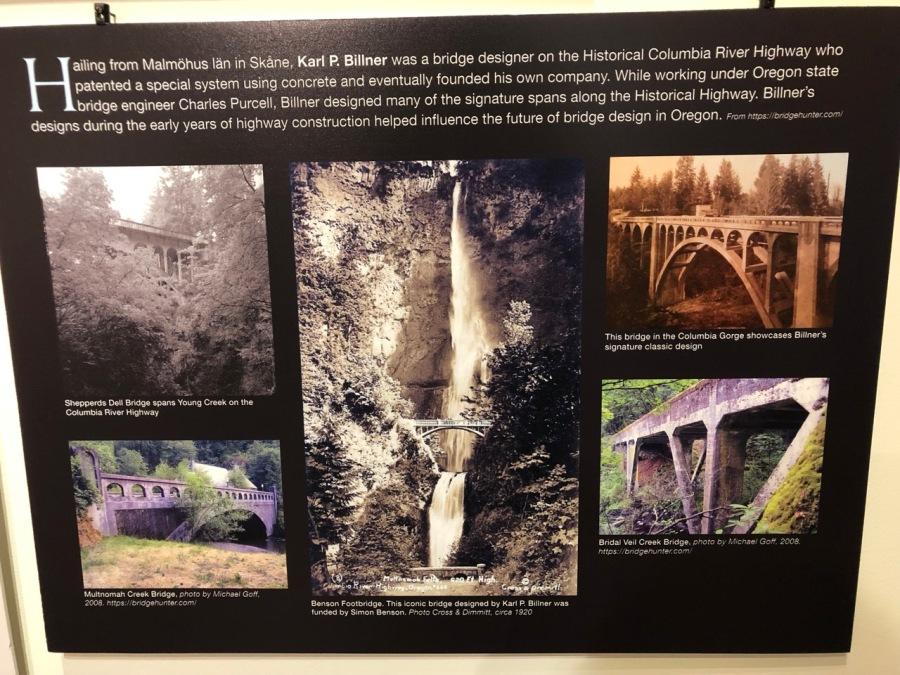 Nordia house event 6-2019 - From Sweden to Oregon exhibit - bridge designer Karl P Billner