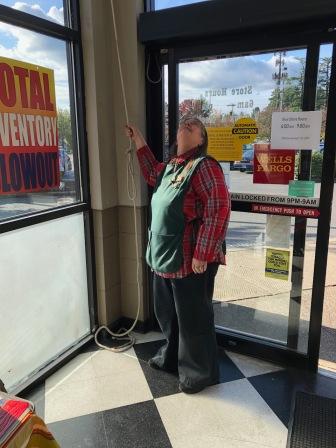 2019 Bell Ringing - Post office - Postmistress Lana Smith