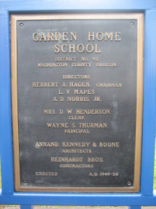 Garden Home School bell plaque, 1949-50