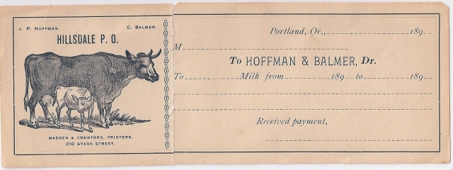 Between 1885 and 1900 there was a large dairy located at 55th and SW Vermont Street operated by John Hoffman and Christ Balmer