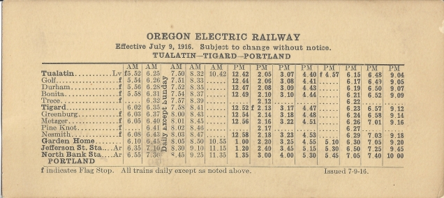 1916 Oregon Electric schedule - side A