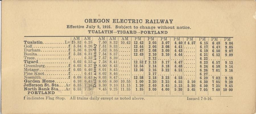 1916 Oregon Electric schedule - side A
