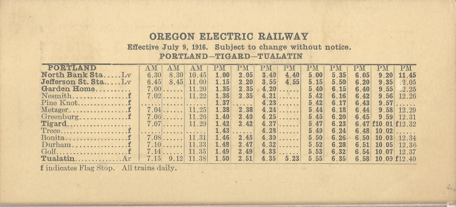 1916 Oregon Electric schedule - side B