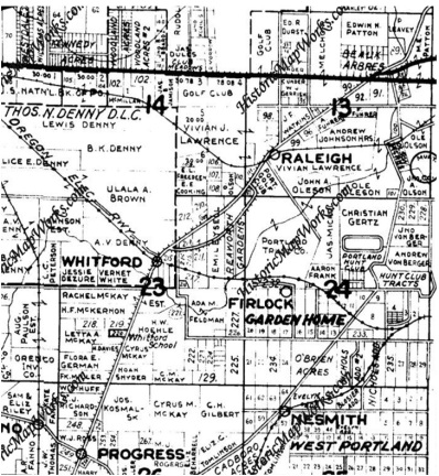1928 Metzger Map showing OER route thru Garden Home