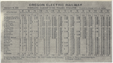 1930 Oregon Electric schedule - Side A