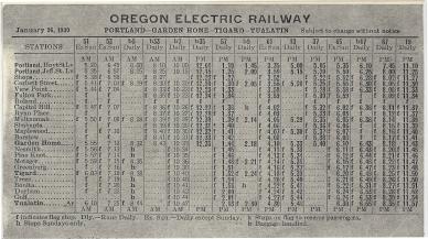 1930 Oregon Electric schedule - Side A