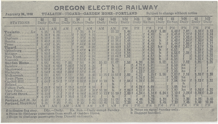 1930 Oregon Electric schedule - Side B