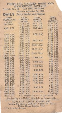 1942 bus schedule - side A