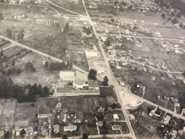 1956 aerial photo of Garden Home School and Lamb's Thriftway under construction