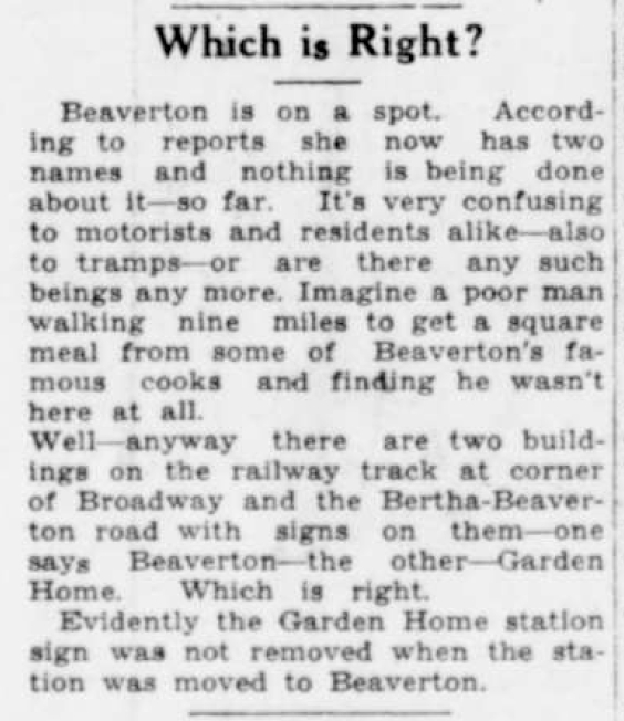 Beaverton Enterprise Newspaper 1944-03-24 - Garden Home Station building moved to Beaverton - detail