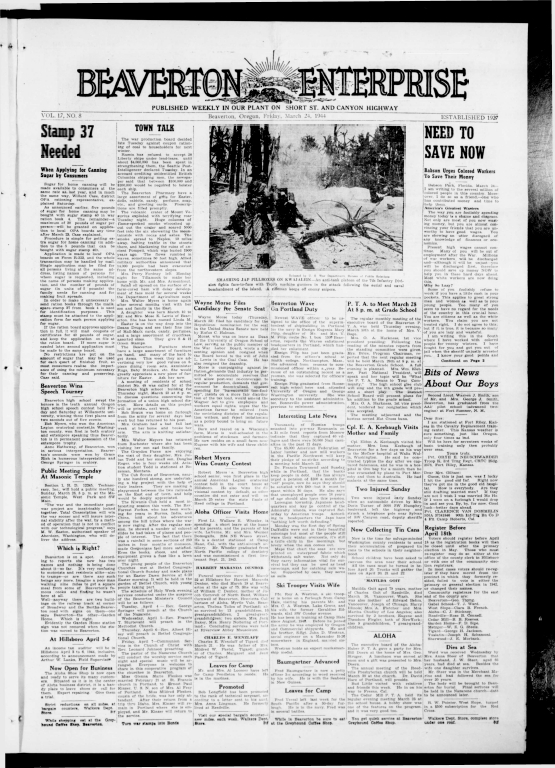 Beaverton Enterprise Newspaper 1944-03-24 - Garden Home Station building moved to Beaverton