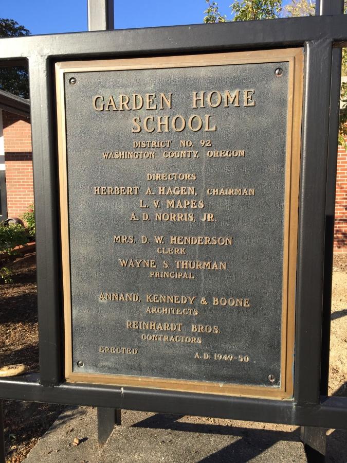 Garden Home School bell, placard