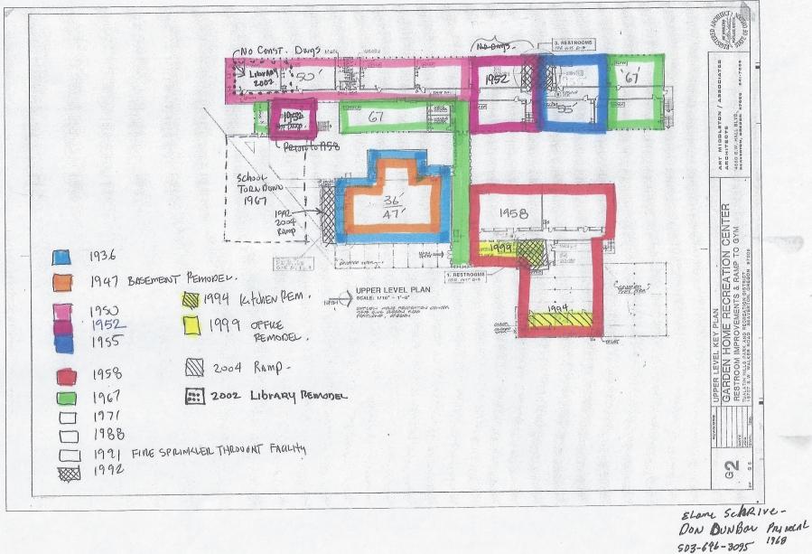 Garden Home School - construction history diagram from Don Dunbar