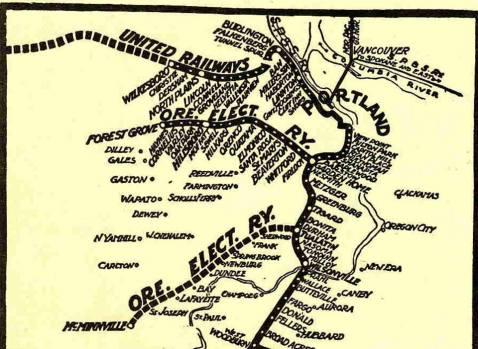 Oregon Electric Railroad route diagram