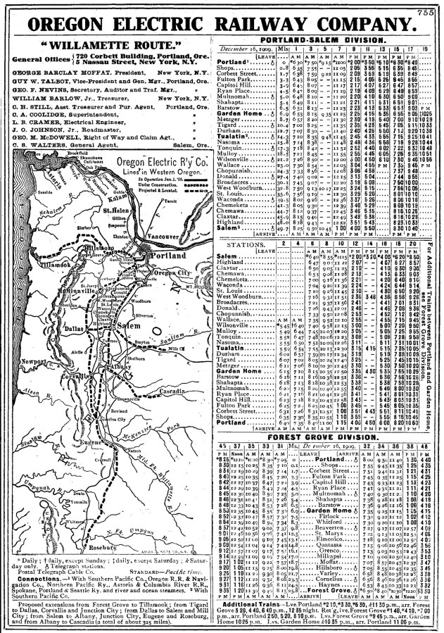 Oregon Electric Railway - Willamette Route 1910 schedule