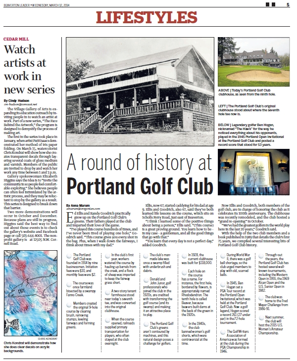 Portland Golf Club - 2014-03-12 Beaverton Leader article on history of the club (full)