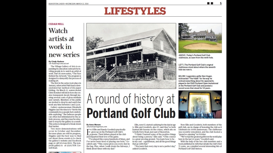 Portland Golf Club - 2014-03-12 Beaverton Leader article on history of the club (top half)