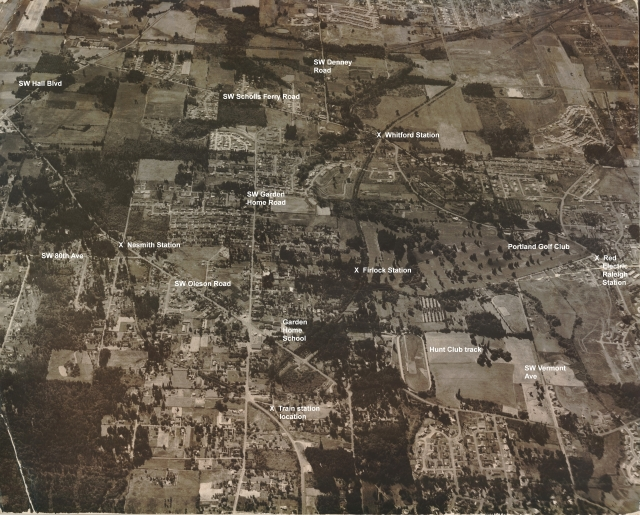 1958 Garden Home aerial photo (from Jacki Wisher) - Annotated