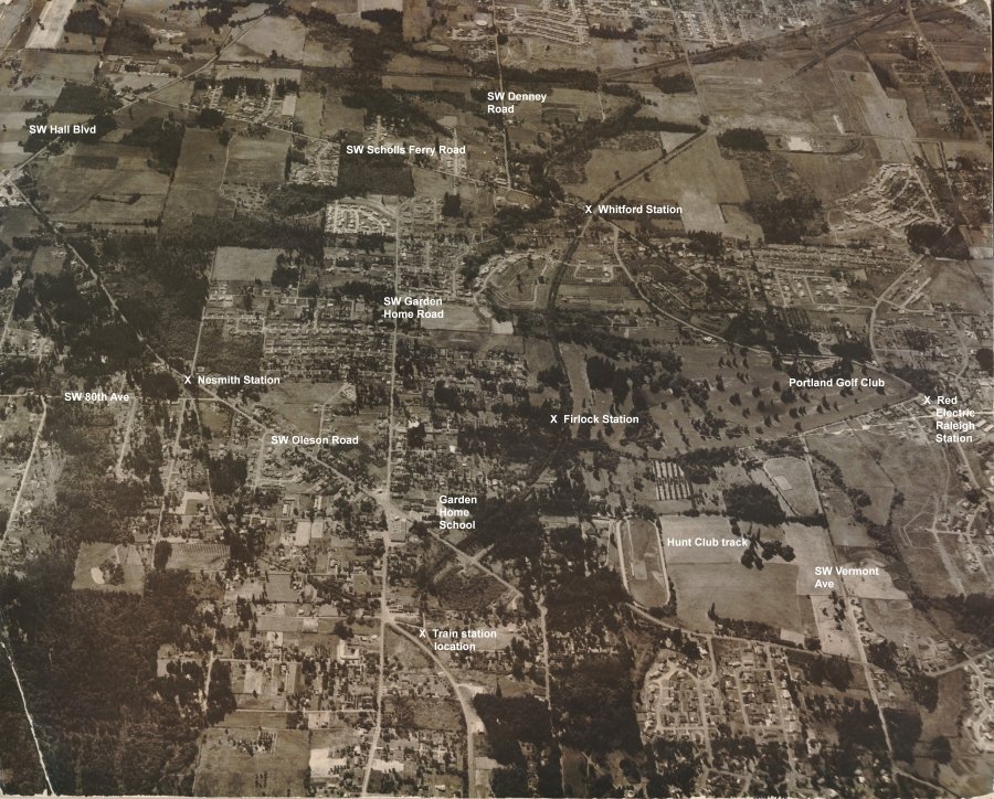 1958 Garden Home aerial photo (from Jackie Wisher) - Annotated