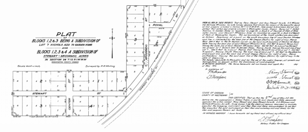 1913 Plat map for SW Stewart St