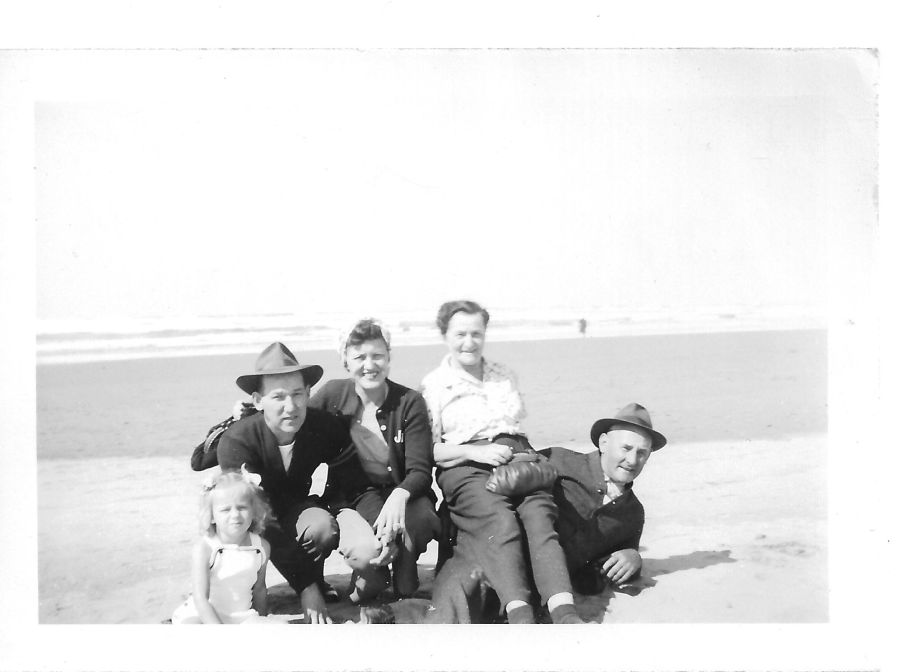 1945 Blosick family - (L to R) Deanne Roshak, Bill and Julie, Mr. and Mrs. Blosick