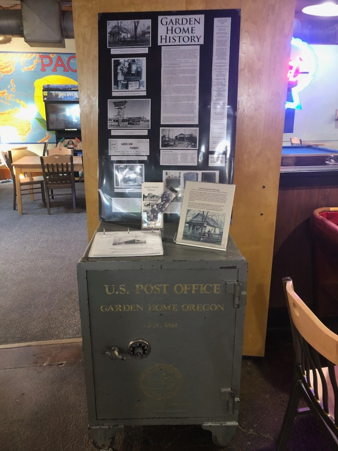 Garden Home Post Office safe on display in the Old Market Pub