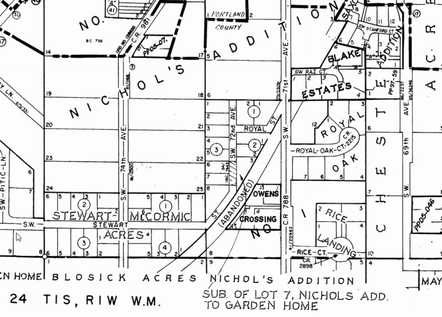 Nichols Addition and Blosick Acres map