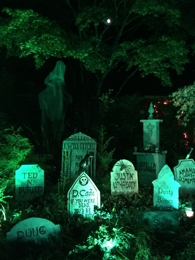 2020 Halloween tombstones at night - Kirstin Lurtz on SW 82nd Ave