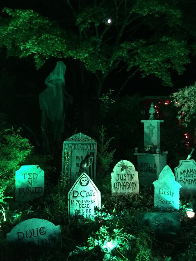 2020 Halloween tombstones at night - Kirstin Lurtz on SW 82nd Ave