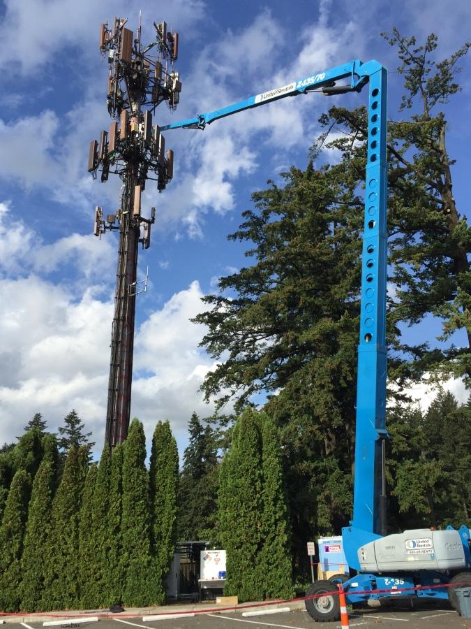Rec Center cell tower - crane