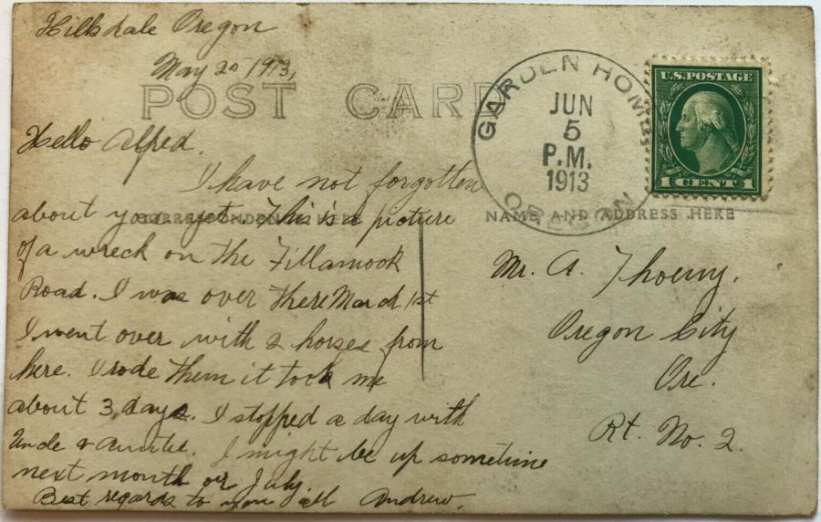 1913 train wreck postcard - back