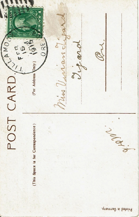 1915 Valentine's Day postcard to Vivian Tigard - back