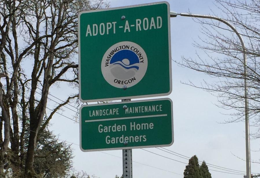 Garden Home Gardeners - Adopt-A-Road sign