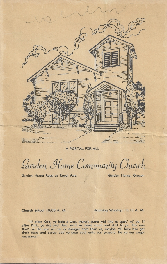 Old Community Church Parsonage Consecration, August 16, 1953 - cover