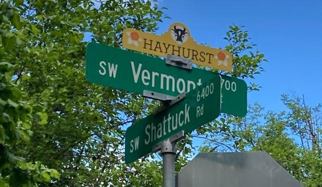 SW Shattuck Road sign