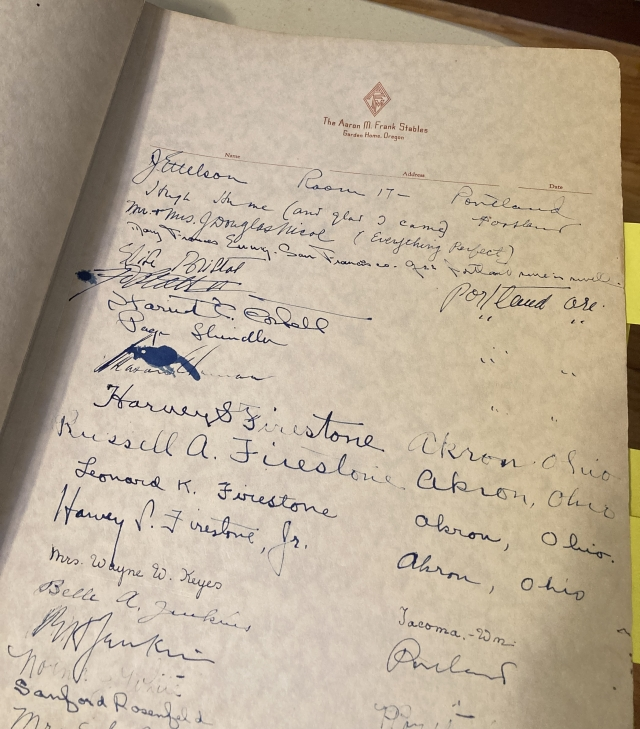 Aaron Frank stable guestbook - Harvey and Russel Firestone signatures