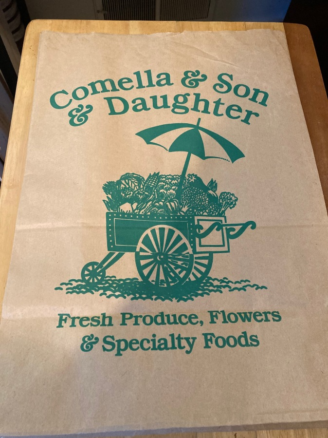 Comella and Son and Daughter grocery bag