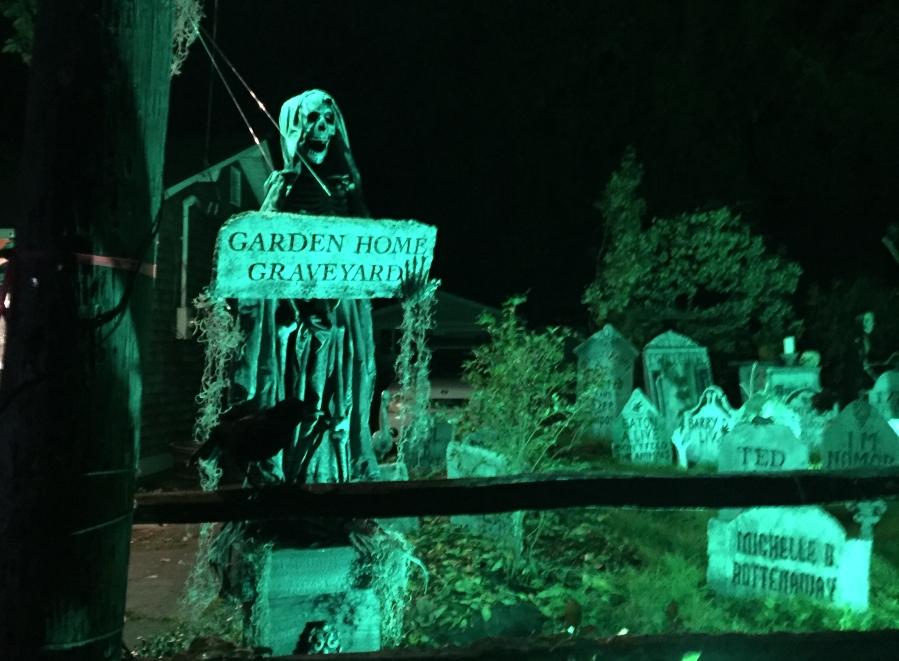 Halloween Garden Home Graveyard on SW 82nd - after dark