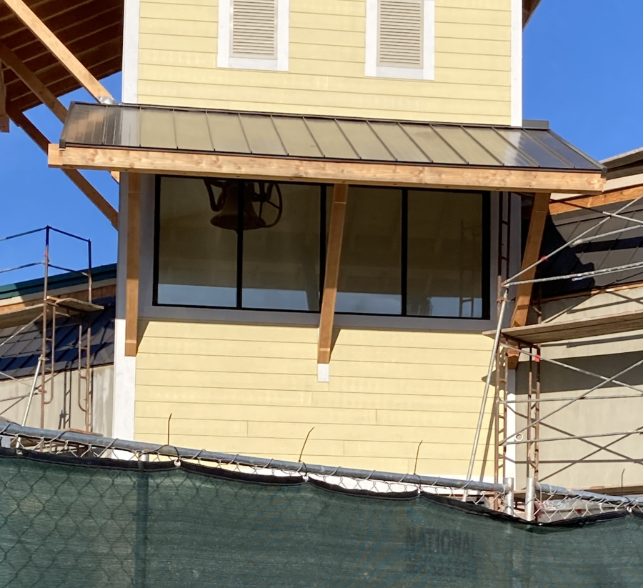 Close-up of historic bell - Trader Joes construction Oct 2021